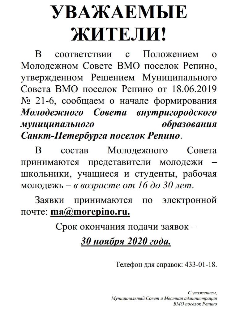 2020 заявки в Молодежный Совет ВМО поселок Репино_1